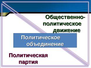 Общественно-политическое движение Политическая партия Политическое объединение