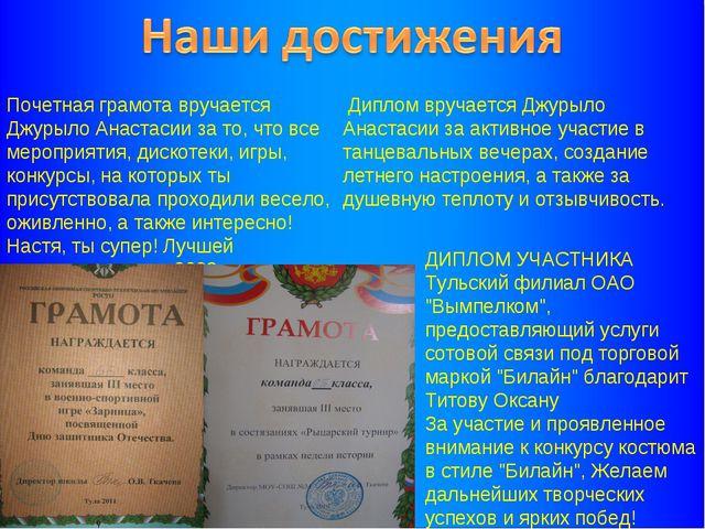 Почетная грамота вручается Джурыло Анастасии за то, что все мероприятия, диск...