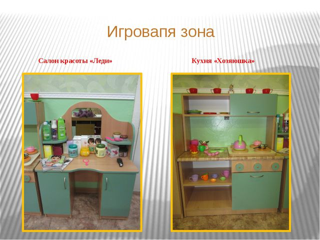 Игровапя зона Салон красоты «Леди» Кухня «Хозяюшка»