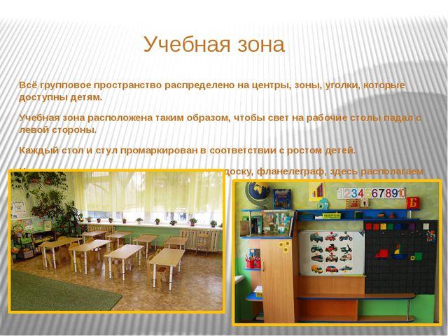 Учебная зона Всё групповое пространство распределено на центры, зоны, уголки...