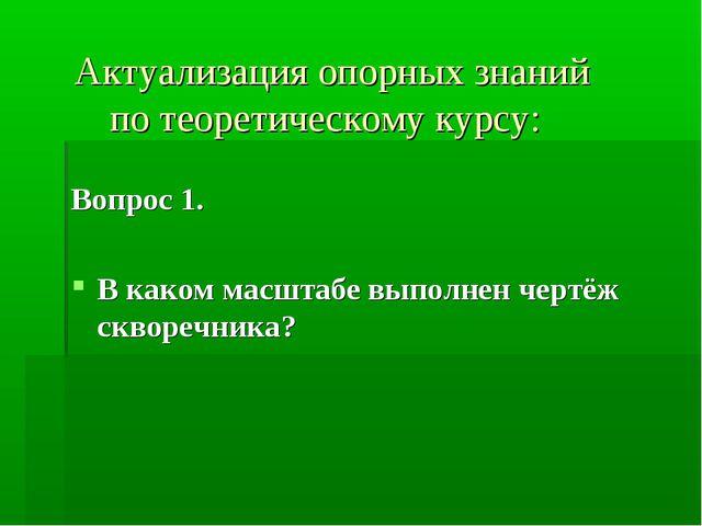 Актуализация опорных знаний по теоретическому курсу: Вопрос 1. В каком масшт...