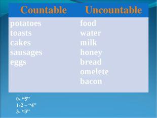 "0- ""5"" 1-2 – ""4"" 3- ""3"" CountableUncountable potatoes toasts cakes sausages"