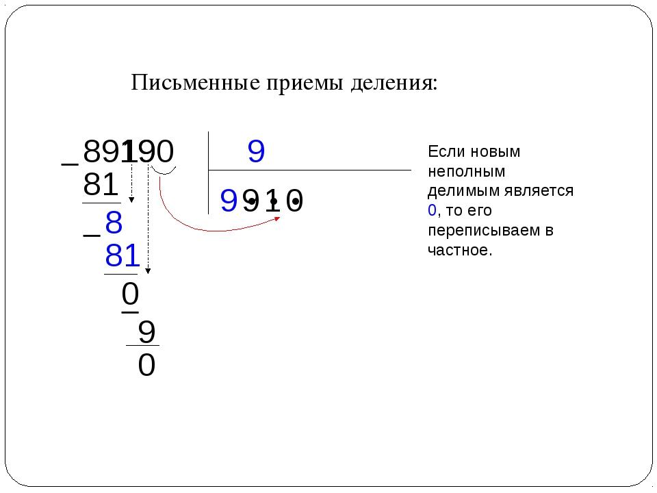Письменные приемы деления: 9 89190 9 ● ● ●  81 9  8 81 0 1 1 9  9 0 0 Если...