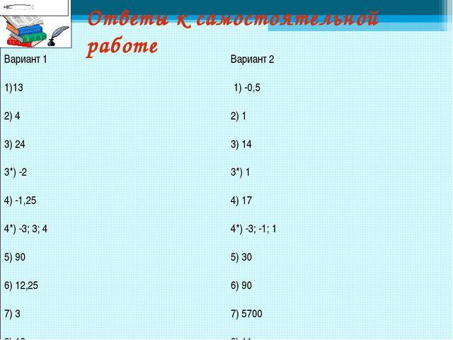 Ответы к самостоятельной работе Вариант 1 13 2) 4 3) 24 3*) -2 4) -1,25 4*) -...