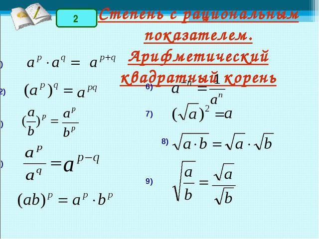 Степень с рациональным показателем. Арифметический квадратный корень 3) 1) 2)...