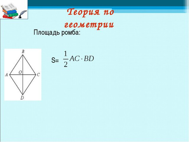 Теория по геометрии S= Площадь ромба: