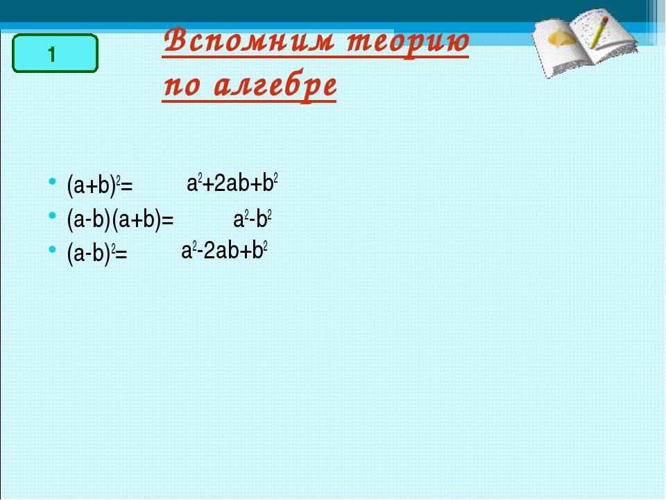 Вспомним теорию по алгебре a2-b2 a2-2ab+b2 (a+b)2= (a-b)(a+b)= (a-b)2= a2+2ab...