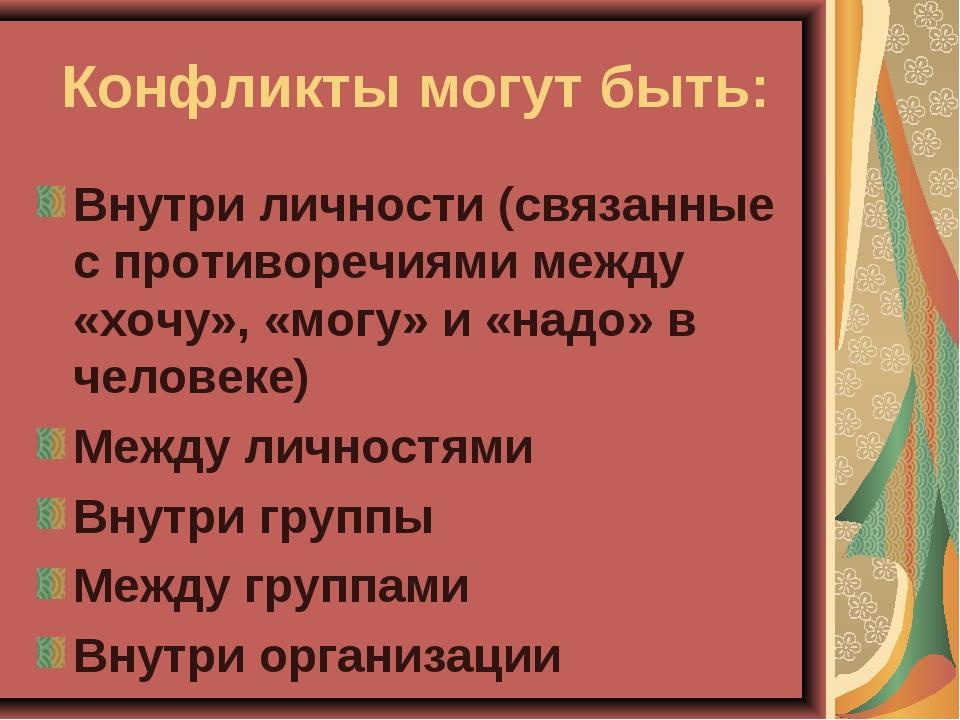 Конфликты могут быть: Внутри личности (связанные с противоречиями между «хочу...