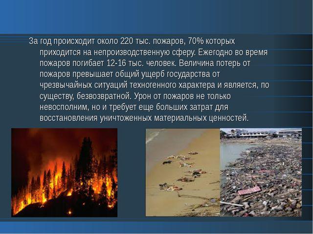 За год происходит около 220 тыс. пожаров, 70% которых приходится на непроизво...