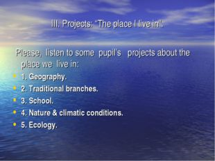 """III. Projects: """"The place I live in"""". Please, listen to some pupil's projects"""