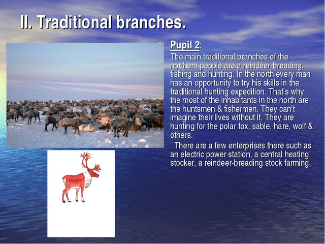 II. Traditional branches. Pupil 2: The main traditional branches of the north...