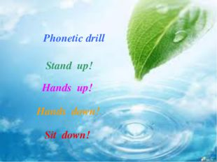 Phonetic drill Stand up! Hands up! Hands down! Sit down!