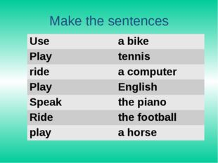 Make the sentences Use a bike Play tennis ride acomputer Play English Speak t