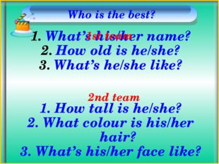 Who is the best? What's his/her name? How old is he/she? What's he/she like?