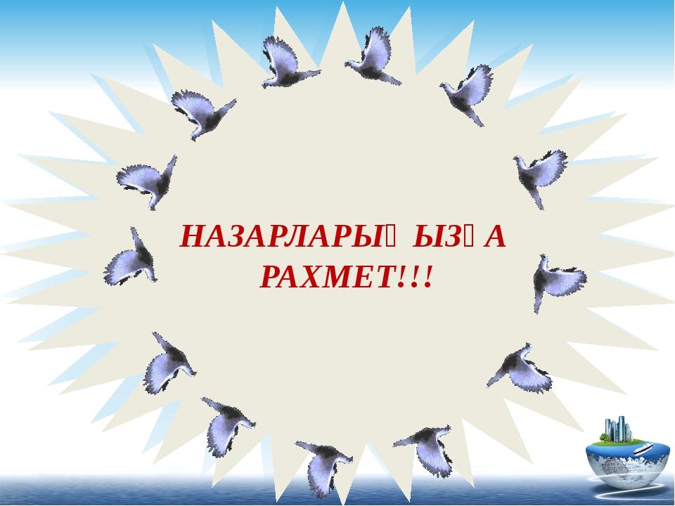 НАЗАРЛАРЫҢЫЗҒА РАХМЕТ! НАЗАРЛАРЫҢЫЗҒА РАХМЕТ!!!