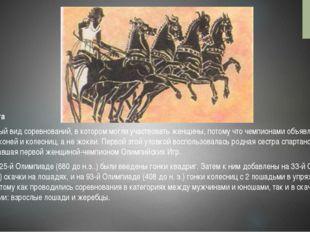 Конные бега Единственный вид соревнований, в котором могли участвовать женщин