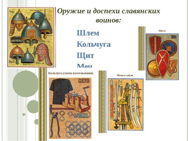 Оружие и доспехи славянских воинов: Шлем Кольчуга Щит Меч