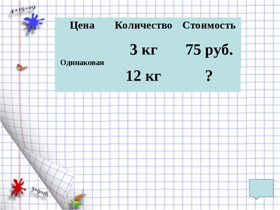 Цена Количество Стоимость 75 руб. 3 кг Одинаковая 12 кг ?