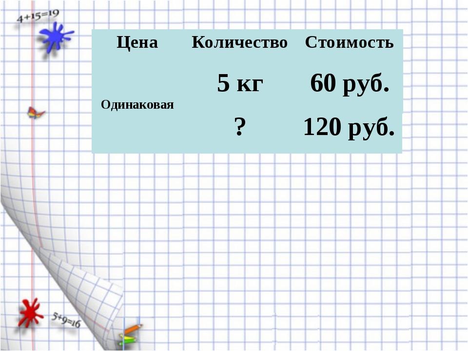 Цена Количество Стоимость 60 руб. 5 кг Одинаковая ? 120 руб.