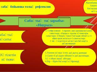 Бір сабақ бойынша толық рефлексия Жиенбаева Айнагул Амантаевна бастауыш сынып