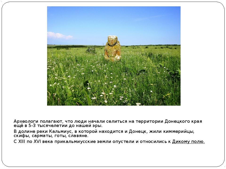 Археологи полагают, что люди начали селиться на территории Донецкого края ещё...