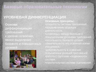 Базовые образовательные технологии УРОВНЕВАЯ ДИФФЕРЕНЦИАЦИЯ Основа: дифференц