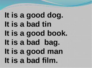 It is a good dog. It is a bad tin It is a good book. It is a bad bag. It is a