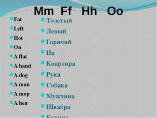 Mm Ff Hh Oo Fat Left Hot On A flat A hand A dog A man A mop A hen Толстый Лев