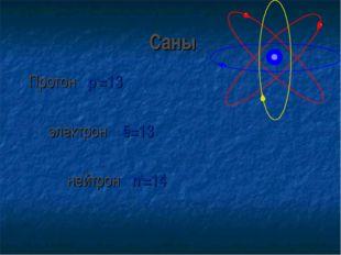 Саны Протон p+=13 электрон ē=13 нейтрон n0=14