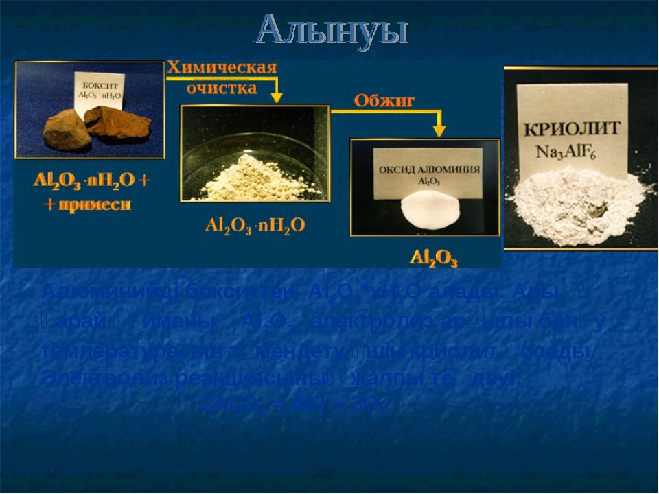 Алюминийді бокситтен Al2O3*хН2О алады. Ары қарай құйманы Al2O3 электролиз арқ...