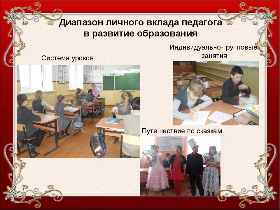 Диапазон личного вклада педагога в развитие образования Индивидуально-группов...