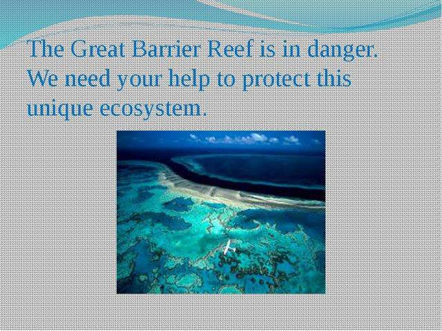 The Great Barrier Reef is in danger. We need your help to protect this unique...