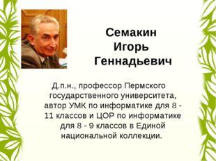 Семакин Игорь Геннадьевич Д.п.н., профессор Пермского государственного универ
