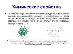 Химические свойства По одной из двух гибридных орбиталей каждого атома углеро