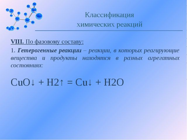 VIII. По фазовому составу: 1. Гетерогенные реакции – реакции, в которых реаги...