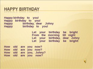 Happy	birthday to you! Happy birthday to you! Happy 	birthday, dear Johny Hap