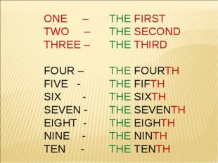 ONE – 	THE FIRST TWO – 	THE SECOND THREE – 	THE THIRD FOUR – 	THE FOURTH FIVE