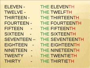 ELEVEN - 	THE ELEVENTH TWELVE - 	THE TWELFTH THIRTEEN - 	THE THIRTEENTH FOURT