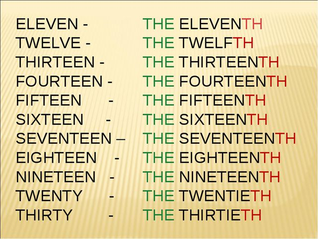ELEVEN - 	THE ELEVENTH TWELVE - 	THE TWELFTH THIRTEEN - 	THE THIRTEENTH FOURT...