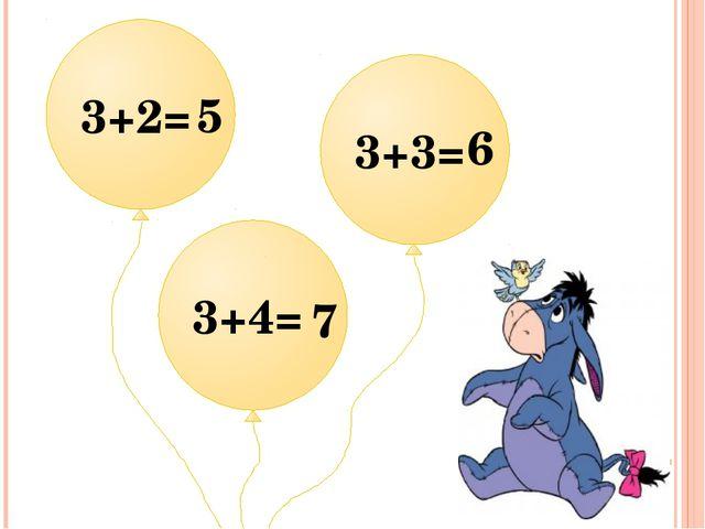 3+2= 3+3= 3+4= 5 6 7