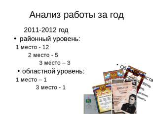 Анализ работы за год 2011-2012 год районный уровень: 1 место - 12 2 место -