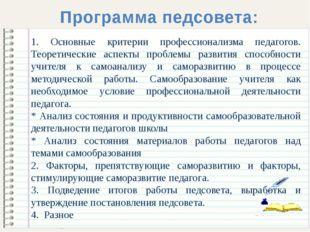 Программа педсовета: 1. Основные критерии профессионализма педагогов. Теорет