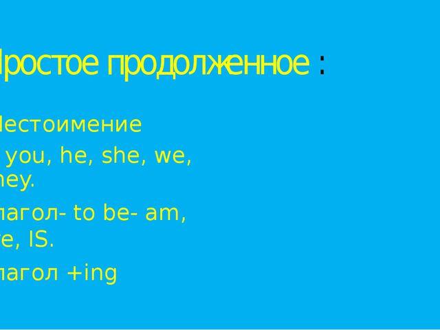 Простое продолженное : Местоимение I, you, he, she, we, they. Глагол- to be-...