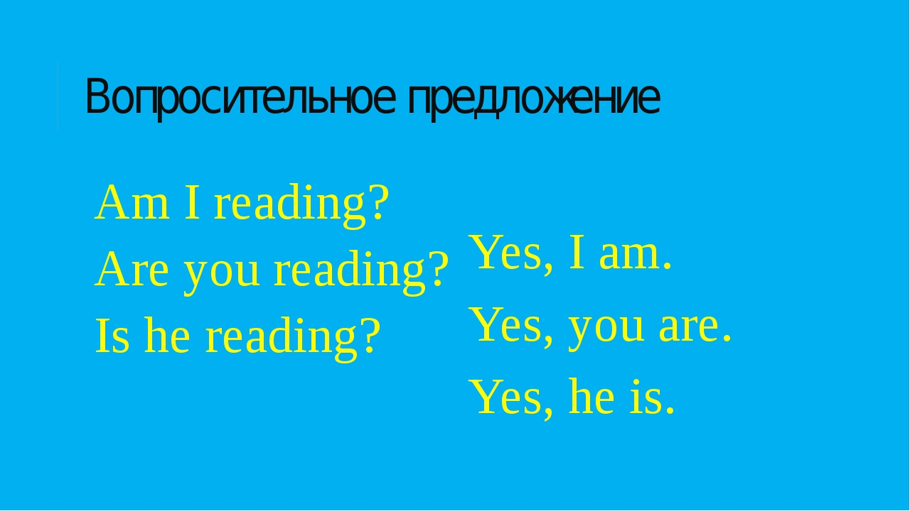 Вопросительное предложение Am I reading? Are you reading? Is he reading? Yes,...