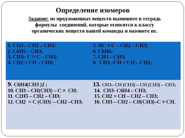 Определение изомеров Задание: из предложенных веществ выпишите в тетрадь форм...