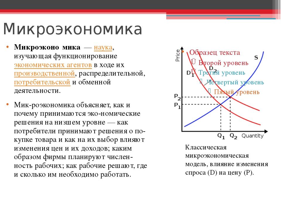 Микроэкономика Микроэконо́мика—наука, изучающая функционированиеэкономиче...