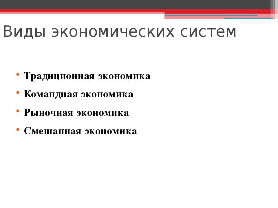 Виды экономических систем Традиционная экономика Командная экономика Рыночная...