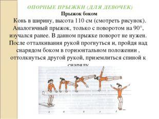 ОПОРНЫЕ ПРЫЖКИ (ДЛЯ ДЕВОЧЕК) Прыжок боком Конь в ширину, высота 110 см (смот