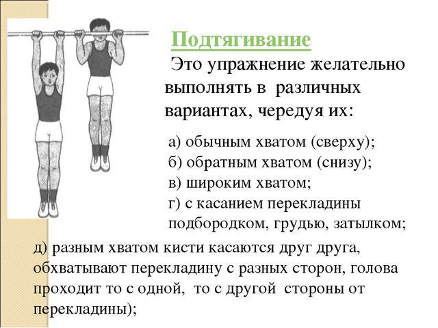 Подтягивание Это упражнение желательно выполнять в различных вариантах, черед...