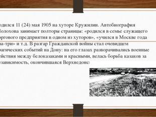 Родился 11 (24) мая 1905 на хуторе Кружилин. Автобиография Шолохова занимает